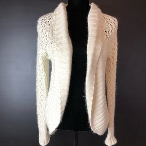 Old Navy Open Loose Knit Cream Cardigan Sweater